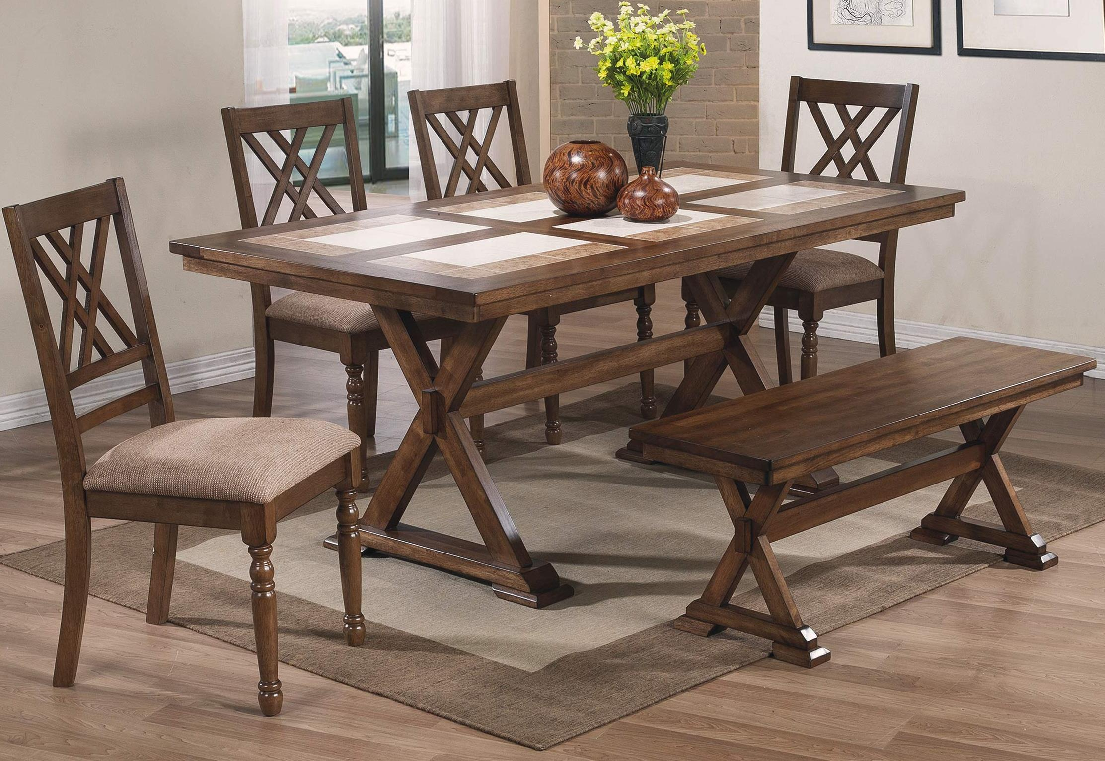 Winners Only Florence 6 Piece Dining Set with Bench - Item Number: DF13672M+4x451SM+455M