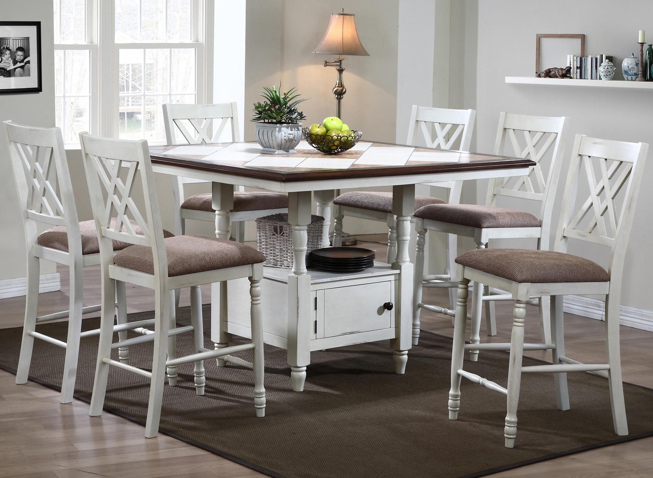 Winners Only Florence  7 Piece Counter Dining Set - Item Number: DFT15151PN+6x45124P