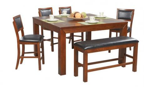 Winners Only Franklin 6 Piece Tall Table, Bench & Barstool Set - Item Number: DFDT6060+45524+4x45124