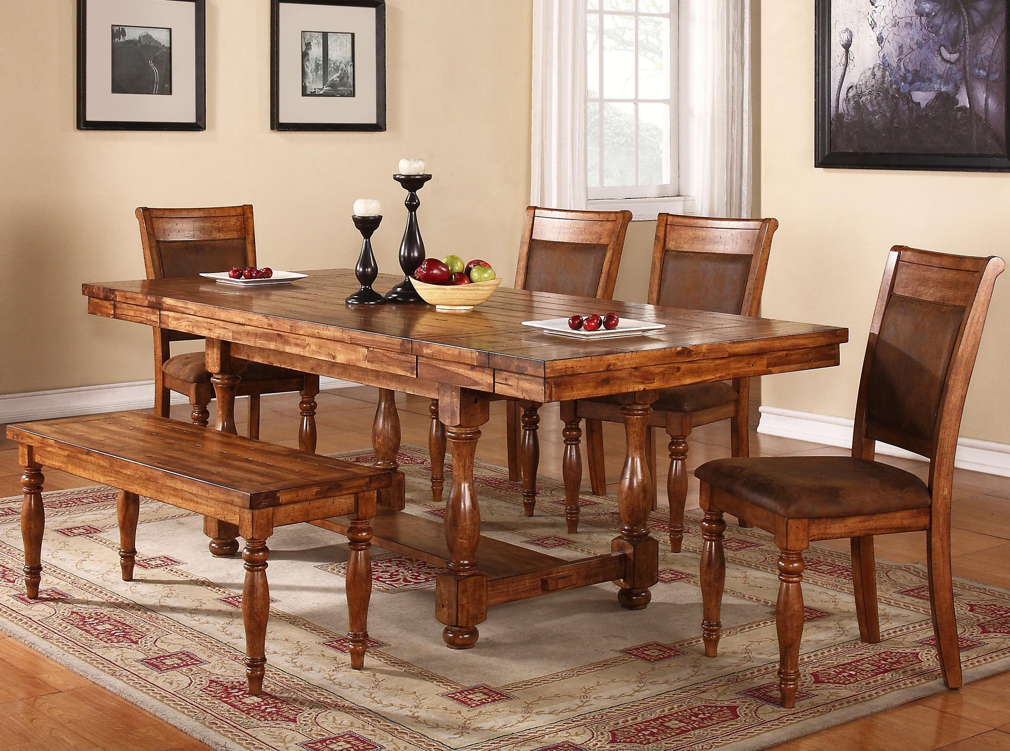 Winners Only Grand Estate 6 Piece Table & Chair Set with Bench - Item Number: DG24092+4x2450S+2455