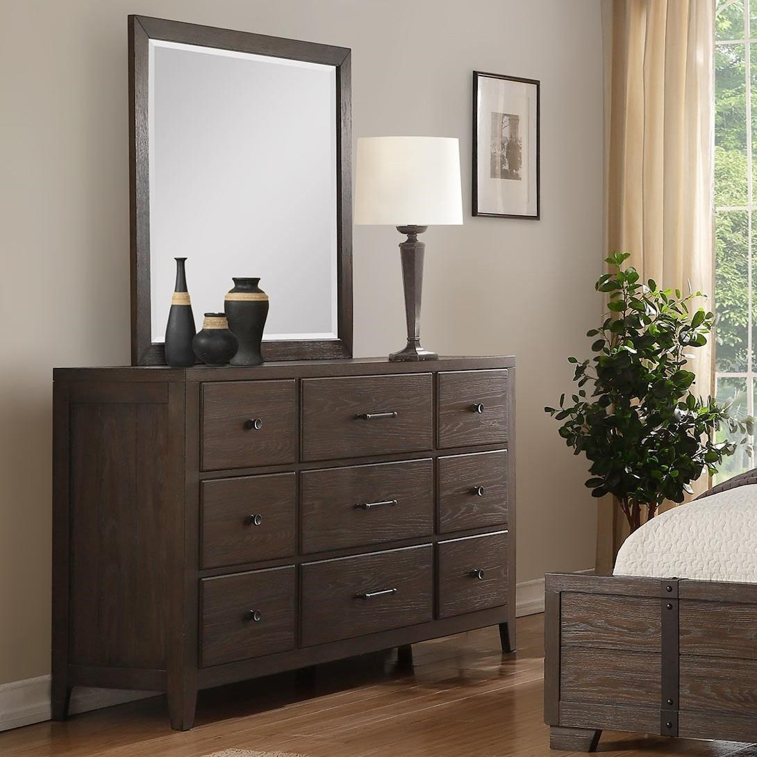 Winners Only Hanson Contemporary 9 Drawer Dresser And Mirror Set Gill Brothers Furniture Dresser Mirror Sets