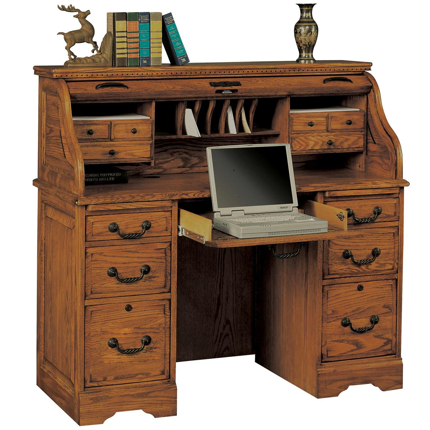 "Winners Only Heritage Oak 48"" Rolltop Desk - Item Number: H148R-RTA"