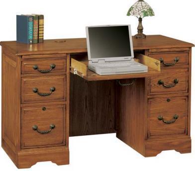 "Winners Only Heritage Oak 48"" Heritage Dark & Light Flattop Desk - Item Number: H348F-RTA"