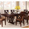 Winners Only Java 7-Piece Rustic Dining Set with Rectangular Trestle Table and X-Back Chairs