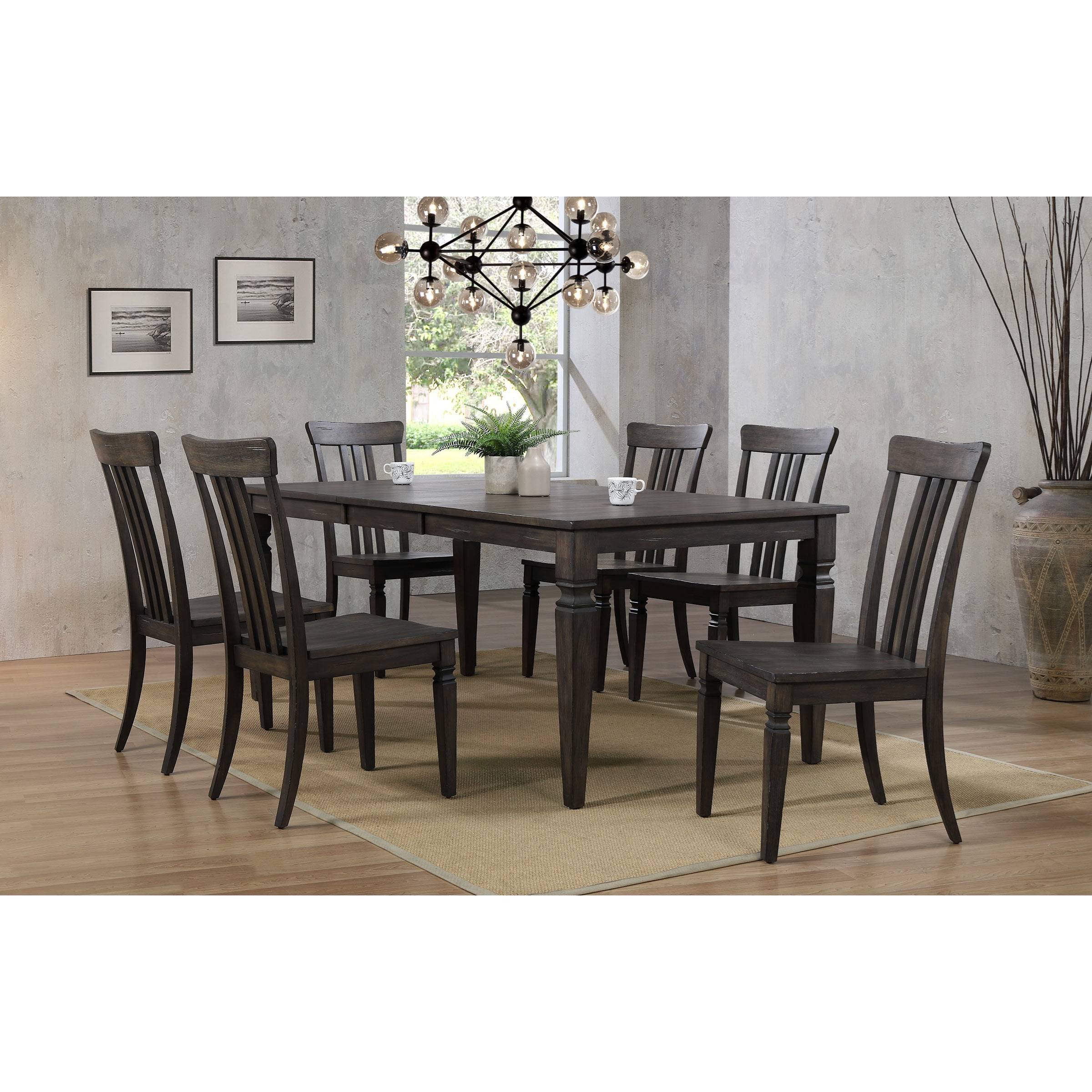 Winners Only Jordan Transitional 9 Piece Table and Chair Set with ...