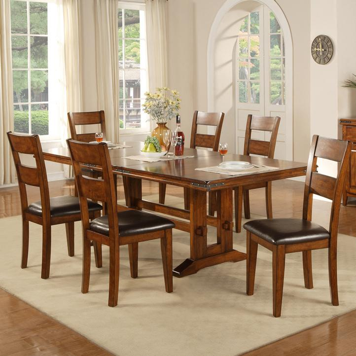 Winners Only Mango 7 Piece Table and Chair Set - Item Number DMG4492+6x50S & Winners Only Mango 7 Piece Trestle Table and Side Chair Set ...