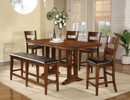 Winners Only Mango 6 Piece Pub Table and Barstool Set - Item Number: DMGT3678+4x45024+45524