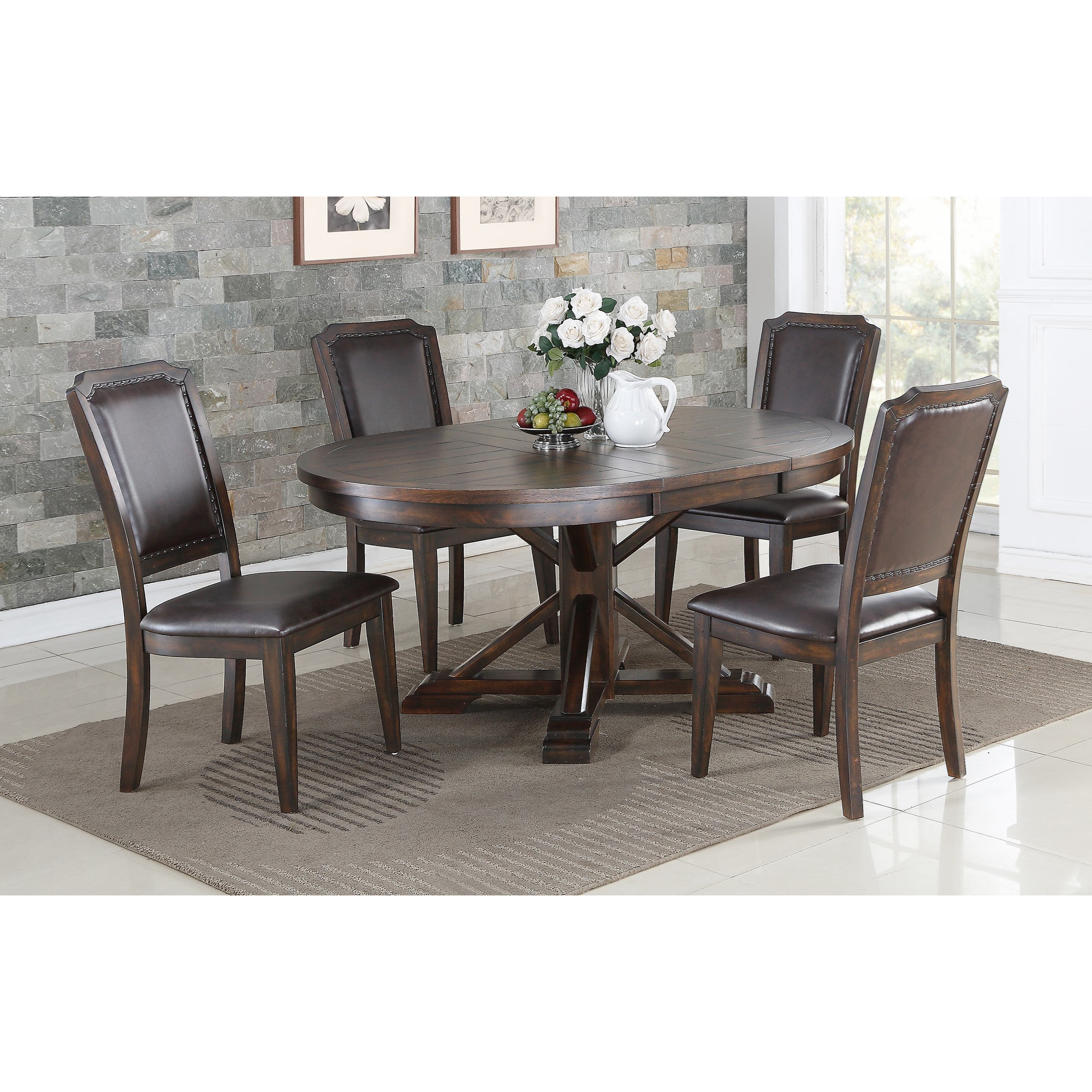 Winners Only Montreal Transitional 5 Piece Pedestal Table And Chair Set Sheely S Furniture Appliance Dining 5 Piece Sets