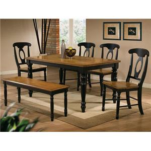Winners Only Quails Run 6 Piece Leg Table Napoleon Side Chair And Bench Set