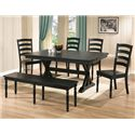 Winners Only Quails Run 6 Piece Dining Table, Chair and Bench Set - Item Number: DQ14284E+1456E+4x1450SE