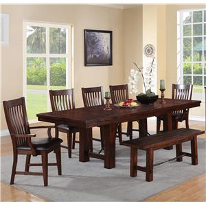 Winners Only Retreat 7 Piece Dining Set with Bench