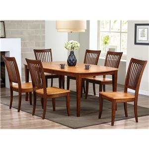 Winners Only Santa Barbara 7 Piece Dining Set with Slat Back Chairs