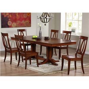7 Piece Dining Set with Keyhole Back Chairs