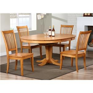 5 Piece Dining Set with Slat Back Chairs