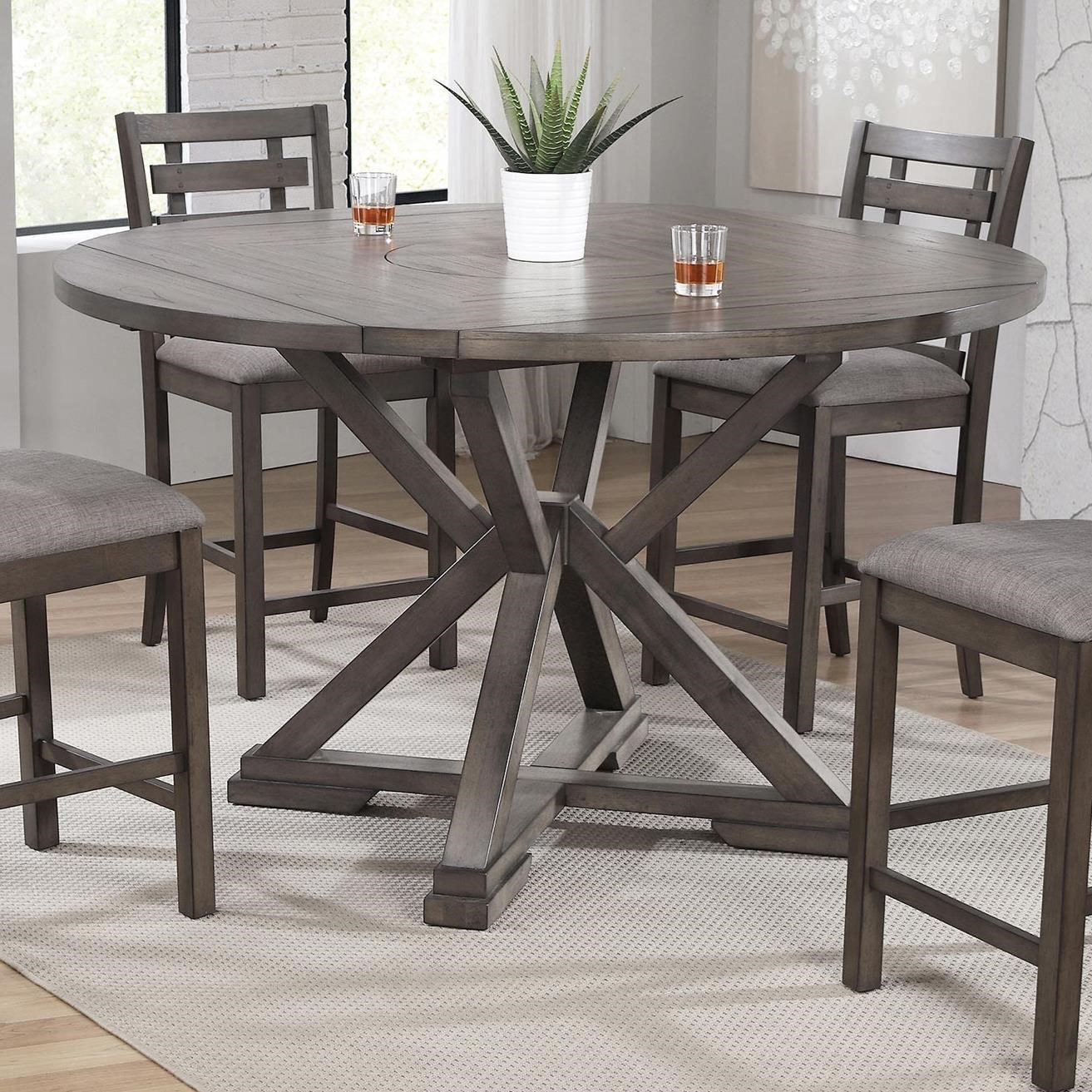 Stratford Counter Height 60 Round Tall Table W Lazy Susan And Drop Leaves Sadler S Home Furnishings Pub Tables