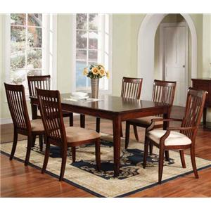 Winners Only Topaz 7-Piece Leg Table & Slat Back Chair Set