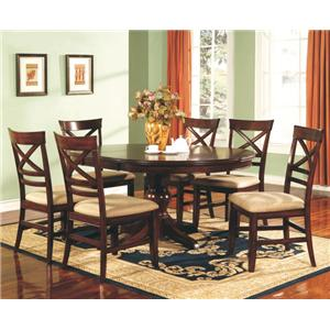 "Winners Only Topaz 7-Piece 66"" Pedestal Table & Side Chair Set"