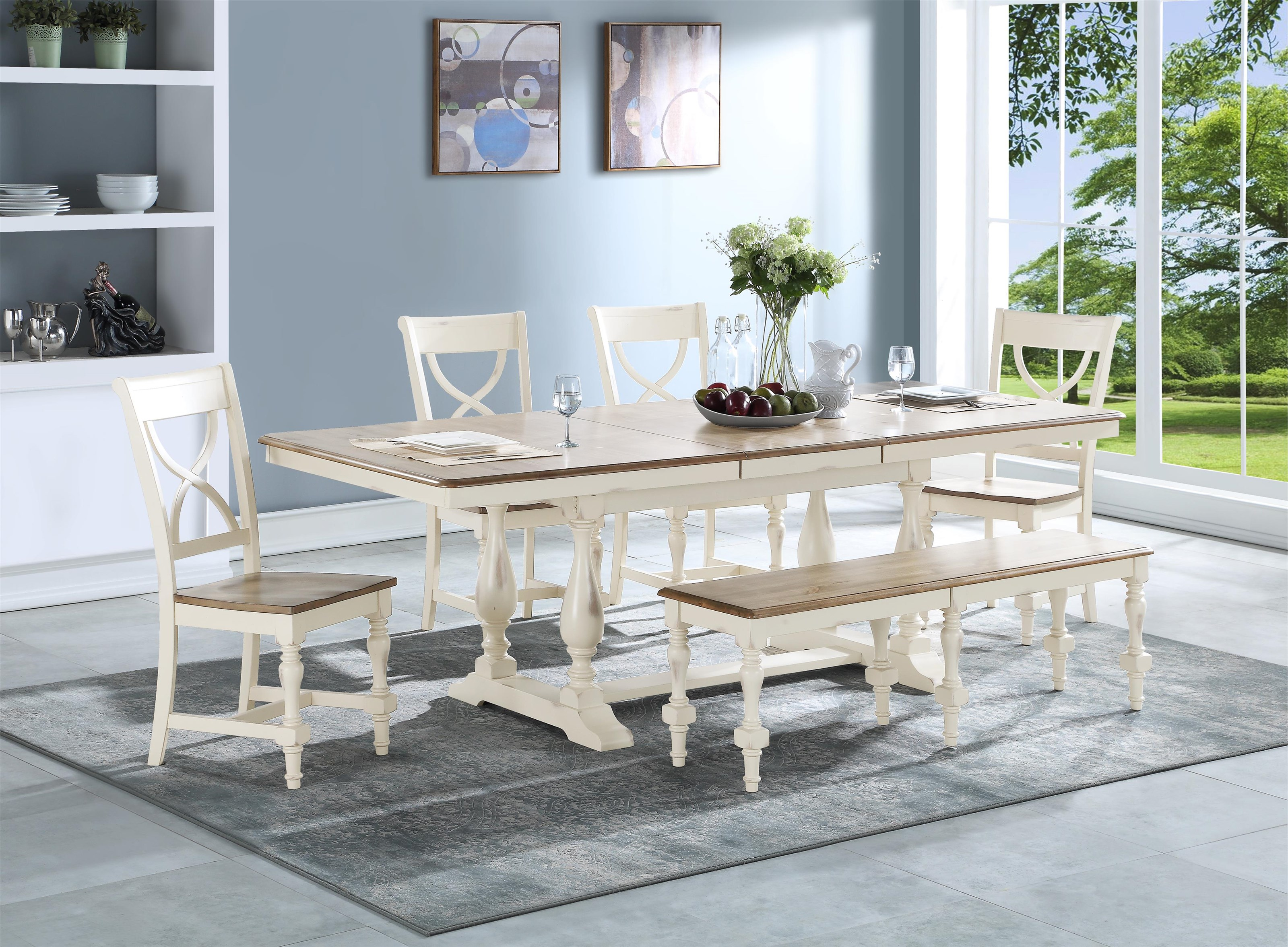 """96"""" Trestle Table with 4 Chairs and Bench"""