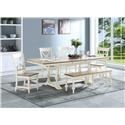 """Winners Only Torrance 96"""" Trestle Table with 4 Chairs and Bench - Item Number: DT34096GP+4XDT3450SGP+DT3455GP"""