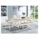 Winners Only Torrance Table & 4 Chairs with Bench - Item Number: DT34096GP+4XDT3451SP+DT3455GP