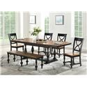 Winners Only Torrance Table & 4 Chairs with Bench - Item Number: DT34078SE+4XDT3450SSE+DT3455SE