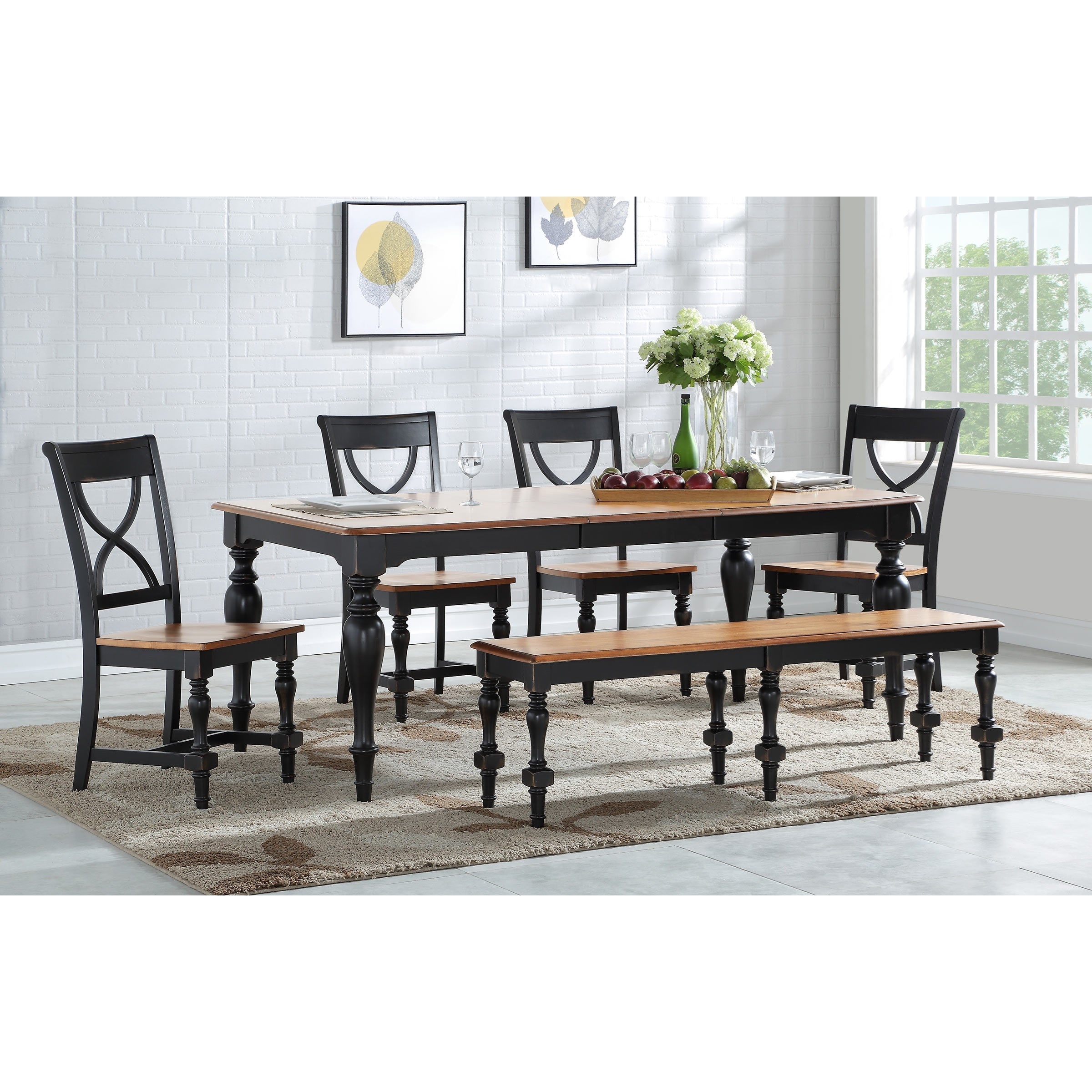 Winners Only Torrance Casual Dining Table And Chair Set With Bench Dunk Bright Furniture Table Chair Set With Bench