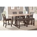 Winners Only Venice 6 Pc Counter Height Dining Set with Bench - Item Number: DVT24278+4xDVT245024+DVT245524