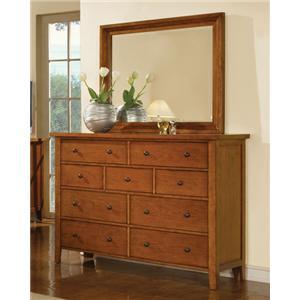 Winners Only Vintage 9-Drawer Dresser & Mirror