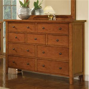 Winners Only Classic Cognac 9-Drawer Dresser