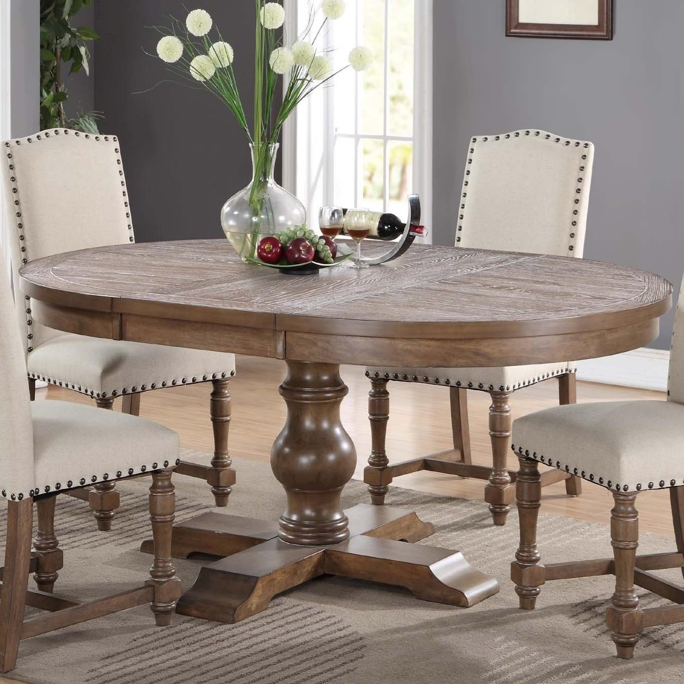 "pedestal dining room table with leaf | Xcalibur Round Pedestal Table with 18"" Leaf | Rotmans ..."
