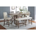 Winners Only Xcalibur Counter Height Dining Set - Item Number: DXT13678GB+T+2x145424G+2x124G+524G
