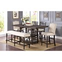 Winners Only Xcalibur Counter Height Dining Set with Upholstered Bench