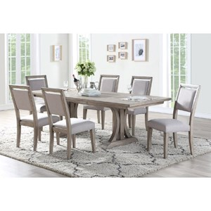 Transitional Trestle Table with 20