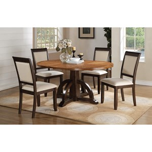 5 Piece Pedestal Table and Chair Set