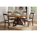 Winners Only Yukon 5 Piece Pedestal Table and Chair Set - Item Number: DYX142866+4x50S