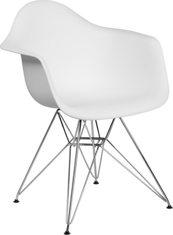 White Plastic Arm Chair with Chrome Base