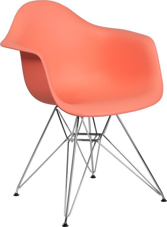 Peach Plastic Arm Chair with Chrome Base