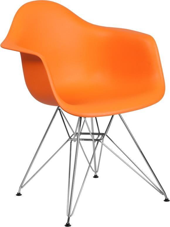 Orange Plastic Arm Chair with Chrome Base