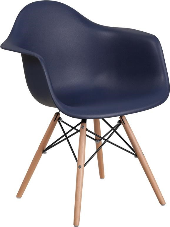 Navy Plastic Arm Chair with Wooden Base