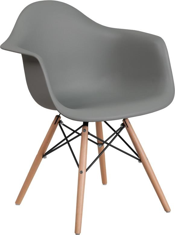 Gray Plastic Arm Chair with Wooden Base