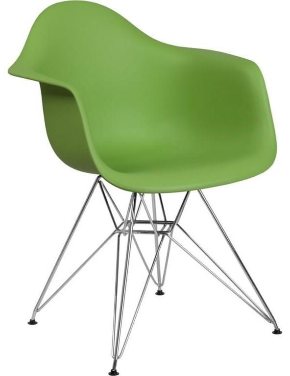 2 Green Plastic Arm Chairs