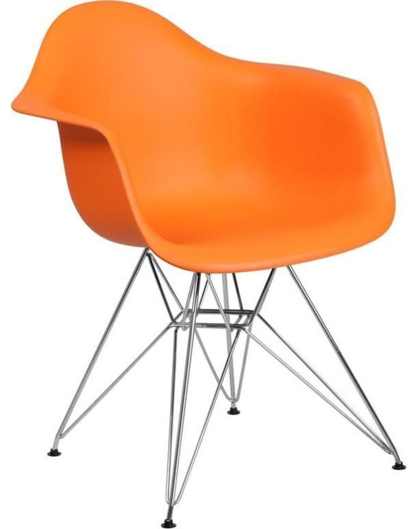 2 Orange Plastic Arm Chairs