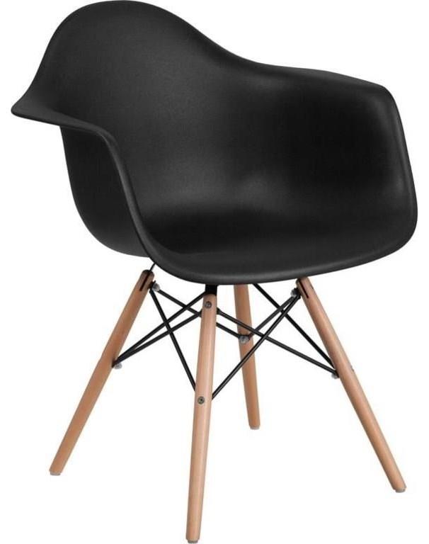 2 Black Plastic Arm Chairs
