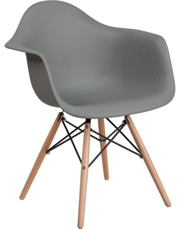 2 Gray Plastic Arm Chairs