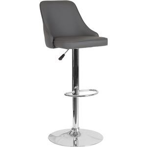 Adjustable Height Barstool in Gray Leather