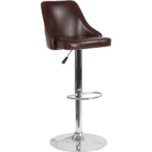 Adjustable Height Barstool in Brown Leather