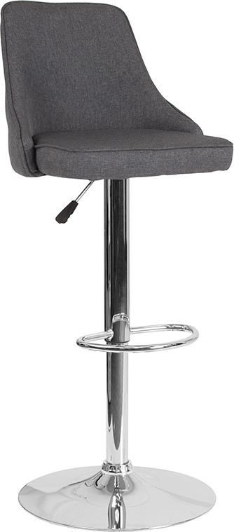 Adjustable Height Barstool in Dark Gray Fabr