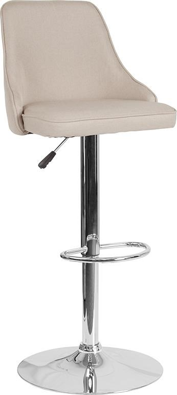 Adjustable Height Barstool in Beige Fabric