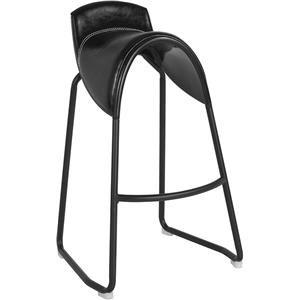 Santa Fe Saddle Chair Barstool in Black Viny