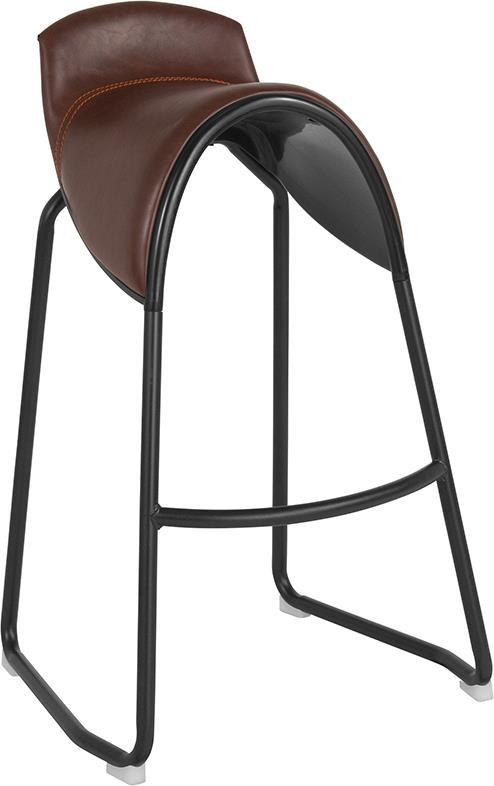 Santa Fe Saddle Chair Barstool in Brown Viny